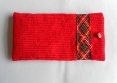 Glasses Case, Red Corduroy with Tartan Ribbon Trim £6.00