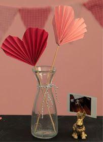 Diy de Decoração Dia dos Namorados Leque de coração de papel