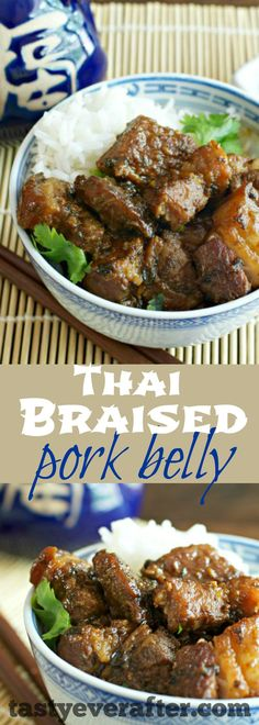 Tender pieces of pork belly slow cooked in a flavorful sauce. Serve it with jasmine rice and your favorite sauteed fresh veggies for an easy dinner. Leftovers make the best fried rice too!