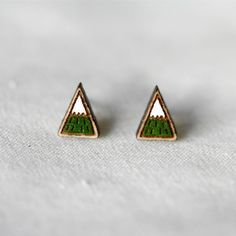 Mountain Stud Earrings in Green