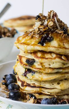 Blueberry Granola Crunch Pancakes