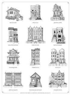 Dimensions: x or x Are you obsessed with Chicago's variety of home styles? Here's a print that captures the classic styles of Chicago, from the Bungalow to the Tudor-style apartment. Chicago House, Chicago Style, Architecture Drawing Art, Architecture Design, House Architecture Styles, Classical Architecture, Sustainable Architecture, Residence Architecture, Chicago Neighborhoods