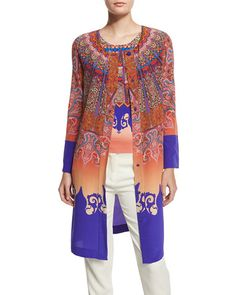 ETRO Marrakech-Print Silk Coat, Orange/Purple. #etro #cloth #