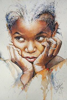"""Little Girl with Braids"" - Bob Graham won the 2012 State Fair's Top Prize with this young African-American black girl watercolor painting. #loveart"