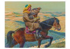 "Vadim Gorbatov""s painting of a Kazakh Berkutchi found on www.eaglefalconer.com"