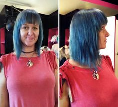 Hello modern Cleopatra! This steel-blue sharp-angled bob by Loriann looks lovely on Cel. (blue hair, bangs, medium length hairstyle, haircut)