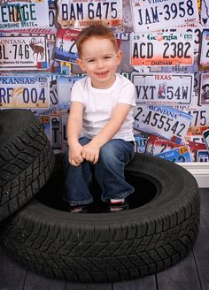 Boy Photography ideas painted tires,, and newspaper backdrop instead??