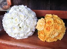 white and yellow roses, bouquets created by Lovely Bridal Blooms