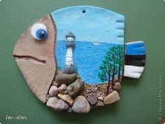 Поделка изделие Роспись Рыбка Эстония Клей Краска Материал природный Песок Тесто соленое фото 1