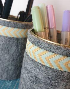 DIY Konservendosen Upcycling | Utensilo für Stifte aus Filz nähen | Langettenstich | Anleitung | Aufbewahrung für Stifte | Ideen für den Schreibtisch | selber machen | Gelbkariert Blog