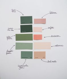 Harmoniser les couleurs Moodboard rose et vert / Green and pink moodboard Bedroom Colour Palette, Green Colour Palette, Bedroom Colors, Green Colors, Color Palettes, Palette Verte, Colour Board, Colour Schemes, Color Inspiration
