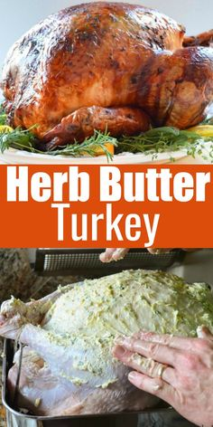 The Best Turkey Recipe for Thanksgiving rubbed with herb butter, covered in cheesecloth and basted with wine. So deliciously moist and juicy from Serena Bakes Simply From Scratch.