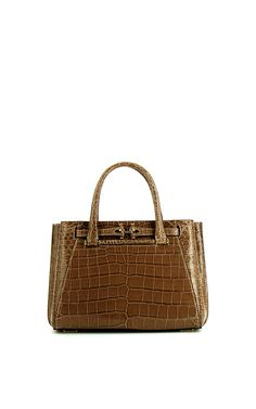 Madison 28Cm Rosewood Crocodile Top Handle Bag by VBH for Preorder on Moda  Operandi