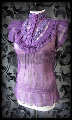 Romantic Victorian Purple Ruffle High Neck Lace BibTop 8 10 Goth VELVET ROSE | THE WILTED ROSE GARDEN on eBay // UK Based // Worldwide Shipping Available