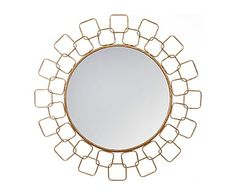 Espejo en metal Meredith, dorado - Ø90 cm