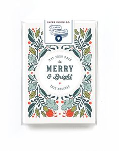 Holiday Card Box Set of 5 - Merry and Bright Fabled Frame Card // Use Code GIVINGSEASON for 25% off your order of $25+ until Tuesday, 11/29 at 11:59pm EST