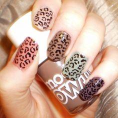 muted nude cheetah nails <3