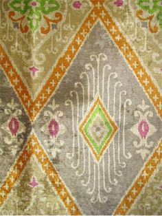 """Ikat Diamond Nectar.  Iman Home Fabric from Magic of Mandalay Collection. 100% poly high luster ikat print velvet.. Perfect multi purpose home décor fabric. Repeat; V 25.25"""" H 13.5"""". 54"""" wide."""