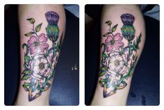 My tattoo of a Scottish thistle (representing my dad, and my Scottish heritage, the White Rose of York for my mum and her family, and a dogwood because I was born in British Columbia and that's the provincial flower... All joined in a Celtic Knot. Done by Denise at Black Cat Tattoos in Fort St. John, B.C.