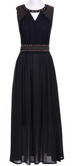 Rivet Embellished Long Dress