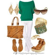 pantalon blanco & camiseta verde - turquesa (complementos marrones)