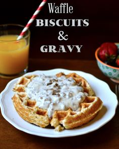 Yammie's Noshery: Waffle Biscuits and Gravy ~ Our oven is broken and this looks amazing!