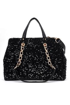 This Shoulder Bag made of PU, featuring sequin embellishment to main, pockets to interior, zip through closure, double handles, adjustable detachable shoulder strap.$70
