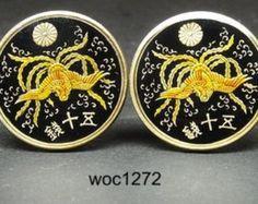 Japan enamelled coin cufflinks 50 cent phoenix 23mm