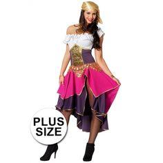Grote maten roze met paars zigeunerin kostuum voor dames. Het kostuum bestaat uit een jurk met aangehechte off-shoulder top en een bijpassende hoofdband. Materiaal: 100% polyester. De gouden riem met muntjes is niet inbegrepen. Ballet Skirt, Wonder Woman, Superhero, Skirts, Character, Kid, Gypsy, Tutu, Skirt