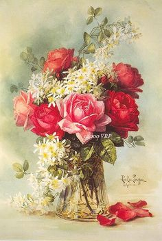 PRINT FREE SHIP Exquisite Victorian Roses Bouquet Paul de Longpre