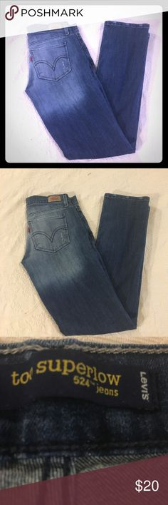 Levi's Strauss Denim Straight Legs Jeans 7 M 524 Excellent condition. Smoke free home. No damage. Worn only a few times. Have lite stretch to them. Size 7 M. These have a lite distress look- there supposed to have the distressed marks. Sooo cute ! Levis Jeans Straight Leg