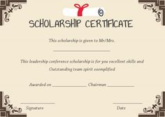 scholarship winner certificate template
