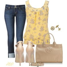"""""""Floral Bird Print Tank"""" by amy-phelps on Polyvore"""