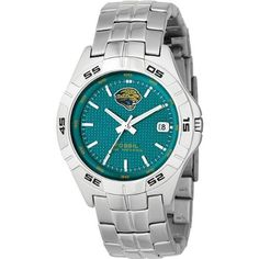 Fossil Men's NFL1114 NFL Jacksonville Jaguars Round Dial Watch Fossil. $94.00. This genuine Fossil watch contains the Jaguars logo. 3-hand quartz analog movement and rotating top ring. Made of stainless steel. Water resistant to 50 meters. Comes with date display