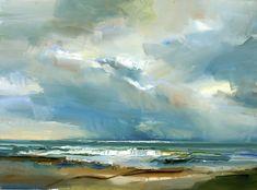 David Atkins, The Sea at Charmouth Abstract Landscape Painting, Seascape Paintings, Landscape Art, Landscape Paintings, Fine Art Paintings, Scenery Paintings, Sea Art, Beach Scenes, Large Painting