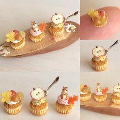 シマリスさん #ミニチュアフード#ミニチュア#ドールハウス#ハンドメイド#食品サンプル#カップケーキ#樹脂粘土#miniaturefood #miniature#dollhouse #polymerclay #cupcakes #handmade #clay