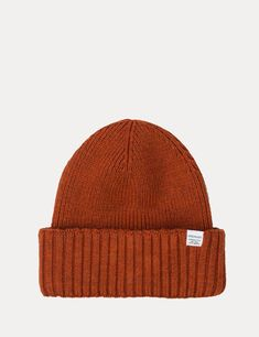 NORSE PROJECTS CHUNKY RIB BEANIE HAT - OXIDE ORANGE. #norseprojects Norse Projects, Beanie Hats, Knitted Hats, Orange, Knitting, Tricot, Breien, Stricken, Weaving