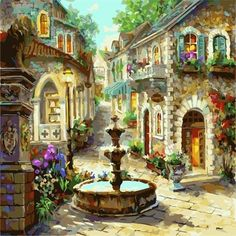 DIY Oil Painting 40x50CM No Frame 3 / as pictures Europe City Street DIY Painting-Paint by Numbers