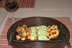 White Wine Coconut Shrimp, Bacon Mashed Potatoes, Cilantro Sauce on Carrots and Cucumbers #Paleo #Glutenfree #Recipe