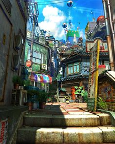 ArtStation - Old Town, Suguru Kamiya Fantasy Landscape, Landscape Art, Fantasy Art, Landscape Photos, Japon Illustration, Landscape Illustration, Environment Concept Art, Environment Design, Anime Places