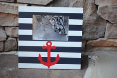 Items similar to Hand Painted Navy and Grey Anchor Picture Frame .Navy Blue and White Stripes.Boys Ocean Bedroom Nursery Bathroom Playroom on Etsy Whale Nursery, Nautical Nursery, Anchor Pictures, Ocean Bedroom, Baby Boy Nurseries, Boy Room, Summer Fun, Blue And White, Navy Blue