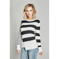 GUESS by Marciano Jordana Sweater ($83) ❤ liked on Polyvore featuring tops, sweaters, asymmetrical sweaters, color block sweater, striped top, thick sweaters and colorblock top