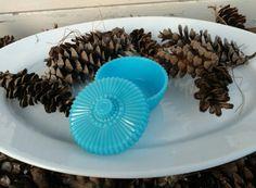Check out this item in my Etsy shop https://www.etsy.com/listing/258115351/retro-aqua-blue-milk-glass-lidded-dish