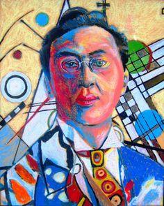 Kandinsky - Self portrait. 9.5 x 12 inches oil pastel on pastel board.
