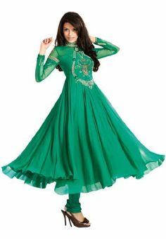 Fabdeal Women's Indian Designer Wear Embroidered Anarkali Suit Green Fabdeal, http://www.amazon.de/dp/B00GAPYXUC/ref=cm_sw_r_pi_dp_P09otb1FJCTPV