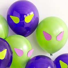 Balloon Idea: Paper eyes morph balloons into a gaggle of aliens. Download templates for the alien eyes.