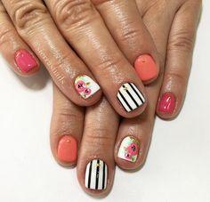 Pink coral white black floral