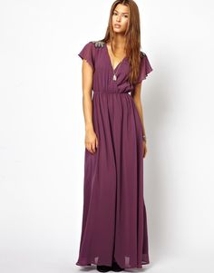 purple-maxi-dress-with-frill-sleeve- Purple Maxi, No Frills, Designer Dresses, Sleeves, Clothes, Fashion, Outfits, Moda, Designer Gowns