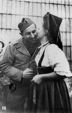 Liberation of Alsace, France, 1944-1945. An Alsatian woman kisses an Allied soldier. (Photo by Art Media/Print Collector/Getty Images)