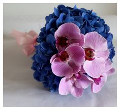 Blue hydrangea & pink phalaenopsis orchid bridal bouquet